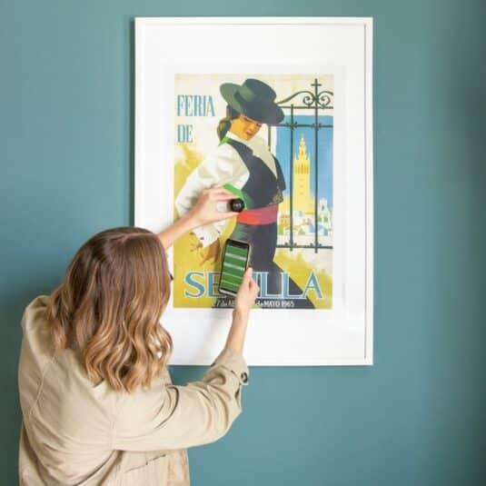 Woman using Nix Mini 2 Color Sensor