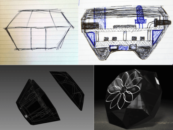 Some sketches and computer renders of the flagship Nix device are shown