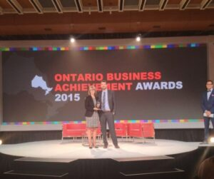 Mat Sheridan accepts an award at the Ontario Business Achievement Awards (2015)