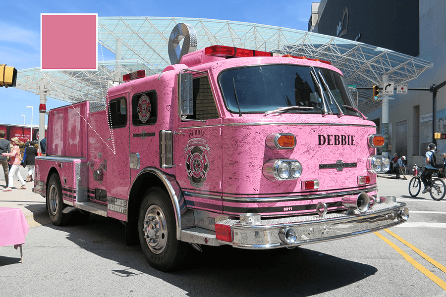 The pink firetruck, Debbie, was on display to support Breast Cancer Awareness