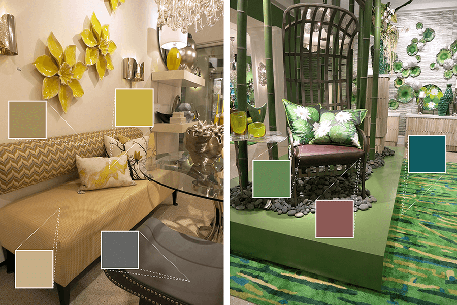 Global Views organized their rooms by color. To the left is a room featuring calming yellows and warm greys. To the right is a bright green room, using a playful and earthy design.
