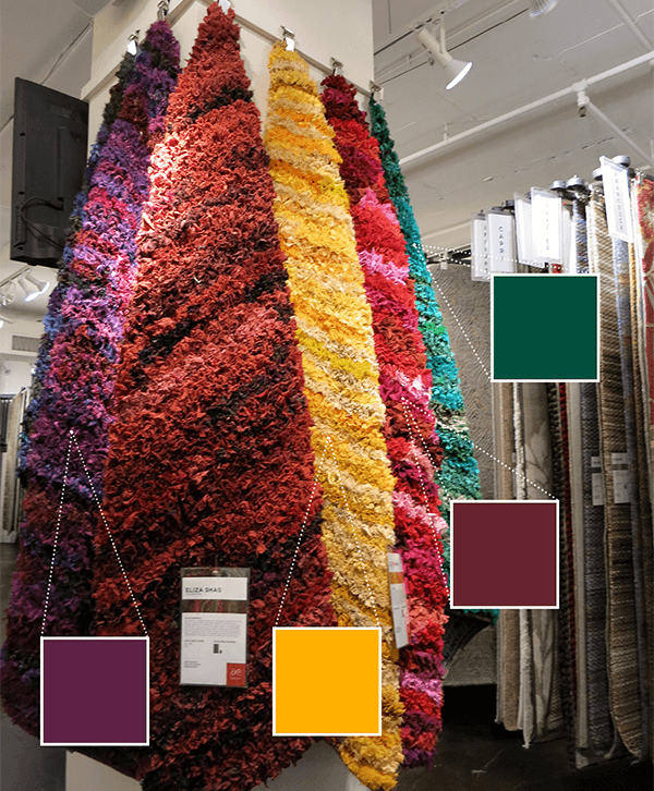 A display of Loloi's brightly colored shag rugs