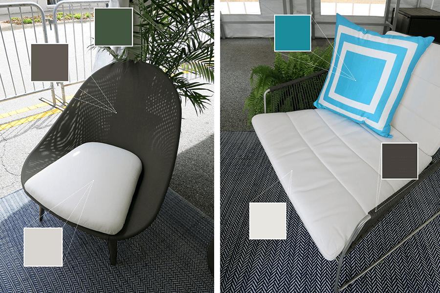 Wayfair's patio chairs were on display featuring shades of grey and blue
