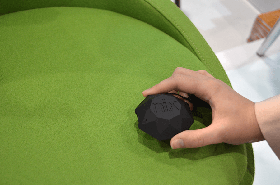 Soho Concept's Pistachio green chairs being scanned with the Nix Pro