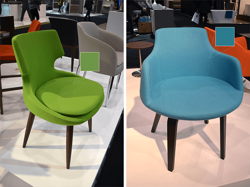 Soho Concept modern chairs in Pistachio green and Turquoise