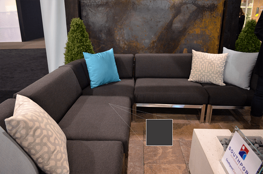 We grabbed the cool grey from Southport Outdoor Living's sectional couch