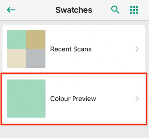 "The ""Swatches"" page highlights your saved data"