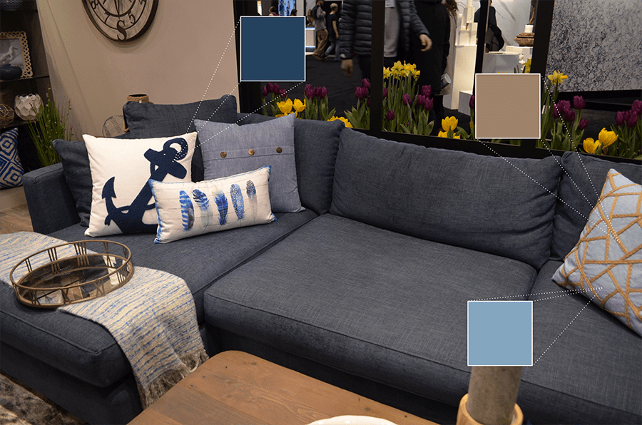 Urban Barn's blue sectional and throw pillows