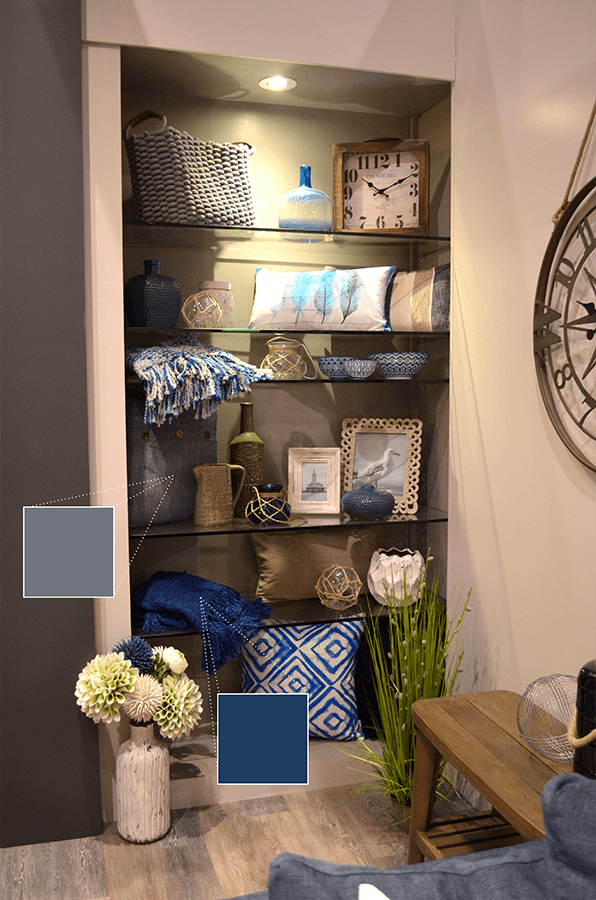Urban Barn continued with the blue hues in their bookshelf decor