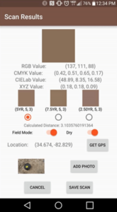 """Example of the Soil Color Scanner interface that shows all possible color system values for a soil sample, and options for """"Field mode, Dry soil, GPS location, and attaching a photo of the soil color sample"""