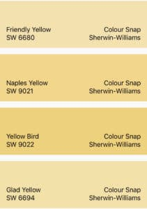 Sherwin-Williams Yellow Color Snap Collection