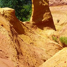 Natural yellow ochre at Roussillon in France: Yellow Pigment