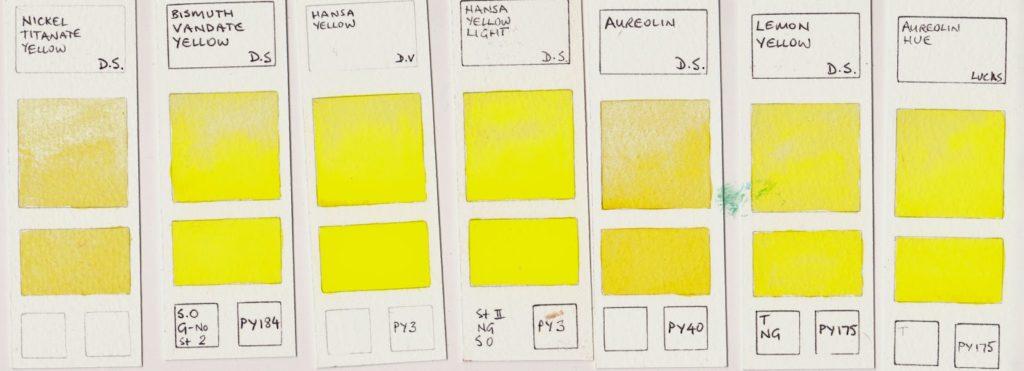 Watercolor palette cool yellow (paint pigments)