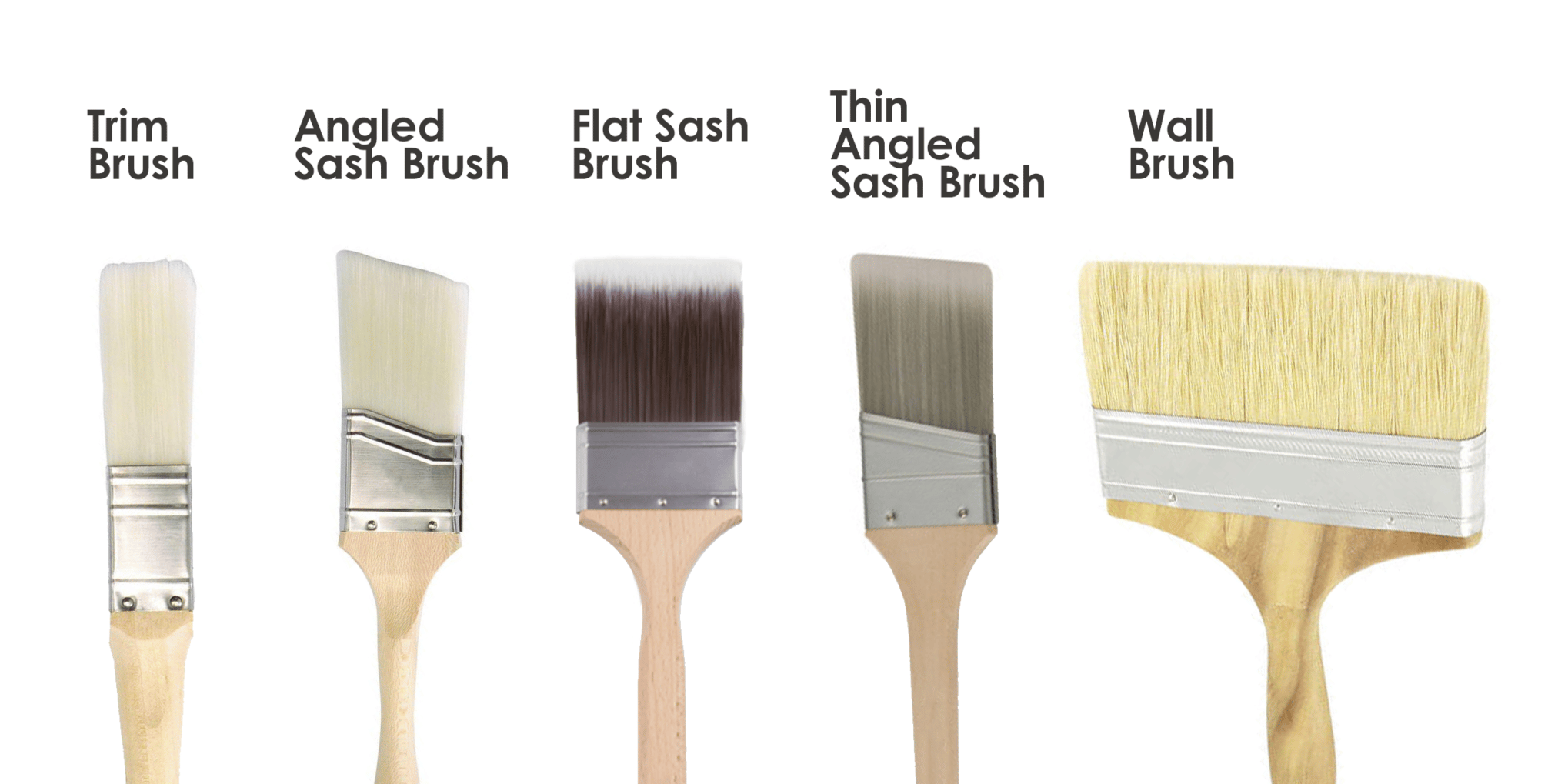Different Brush Styles: Trim, Angles Sash, Flat Sash, Thin Angled Sash, Wall