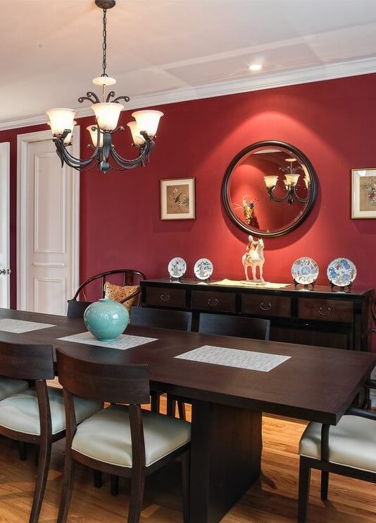 San Francisco Red Wall With Contemporary Mirrors Dining Room And White Trim Round Mirror Nix Sensor Ltd