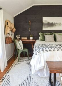 Holiday Decor Idea for Guest Bedroom Dark Accent Wall