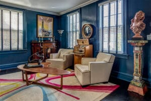A boldly colored living room.