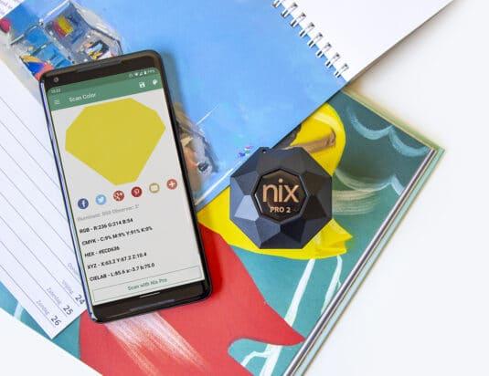 Nix Pro 2 Color Sensor scanning notebook