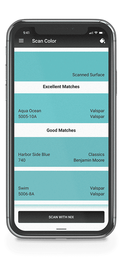 Phone showing paint match results