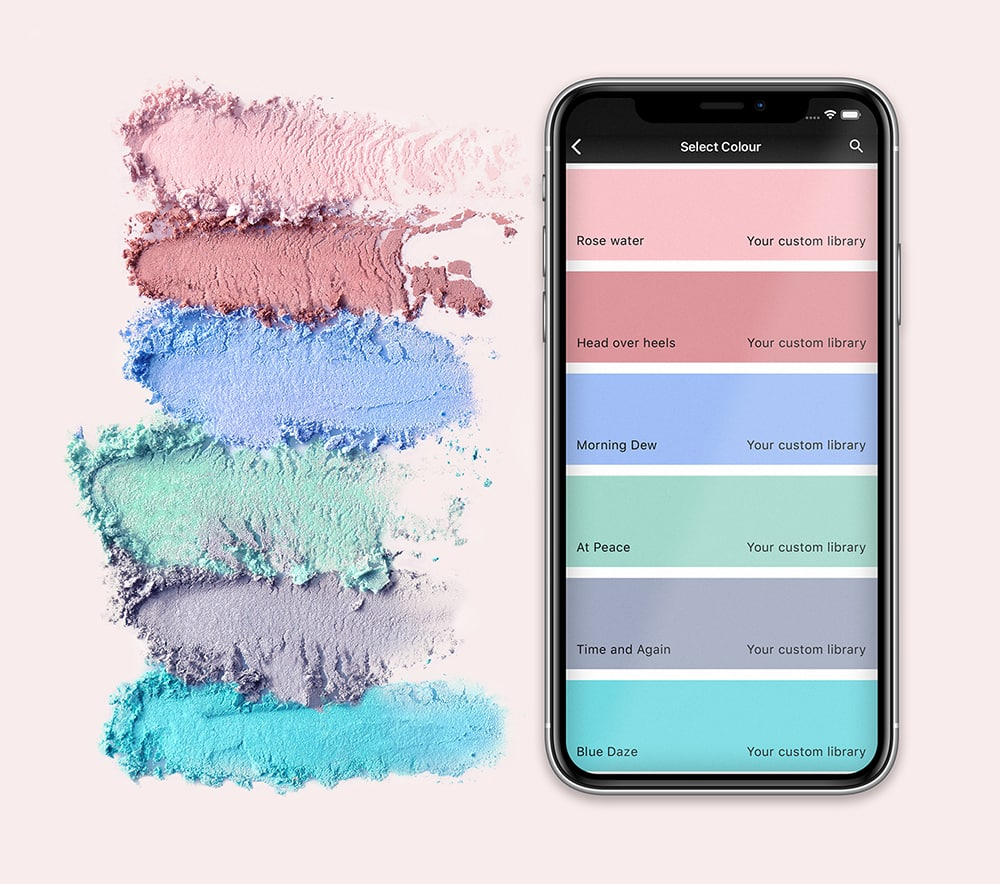 color powder palette with smartphone