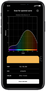 A phone displays a spectral curve from scanning a sample with a Nix Spectro.